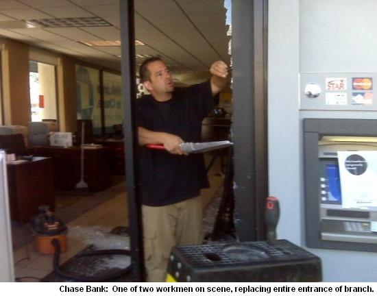 Chase Bank Gets Crashed, In Front Door – Today in Montclair, 94611