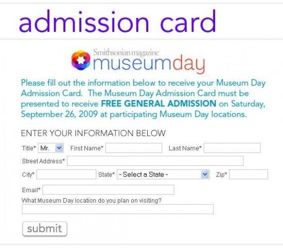 Museum Day - Admission Form